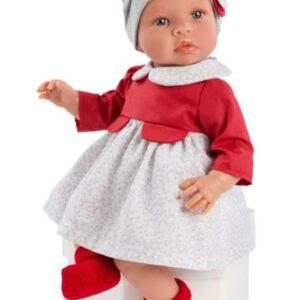 Leonora dukke - rød - og gråblomstret kjole samt hat (46 cm.)