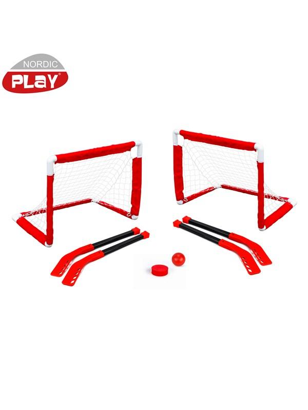 Nordic Play Mini hockey sæt 2 mål og 4 stave - mål 0,61 x 0,45 x 0,40 m
